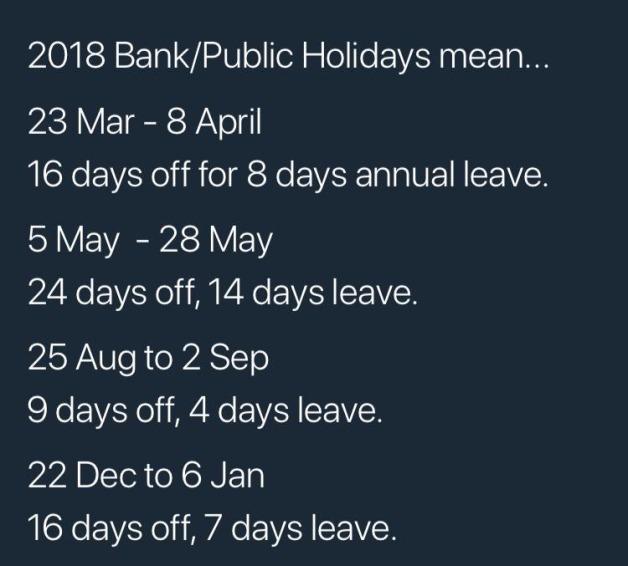 Bank holidays 2018